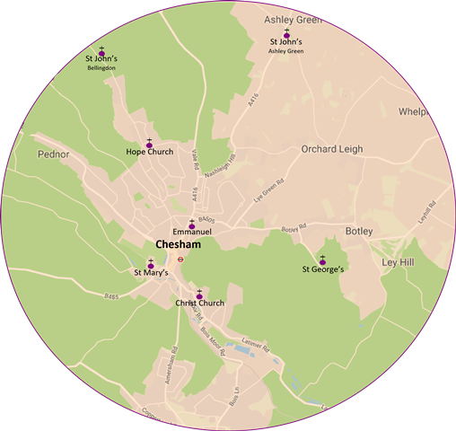 Map of Parish showing District Churches